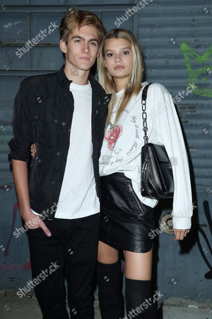 Presley Gerber and girlfriend Cayley King in the front row