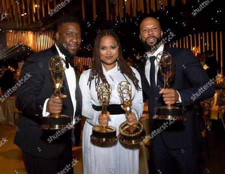 "Robert Glasper, Ava DuVernay, Common. Robert Glasper, from left, Ava DuVernay, and Common, winners of the awards for outstanding original music and lyrics, outstanding documentary or nonfiction special, and for outstanding writing for nonfiction program for ""13th,""attend the Governors Ball during night one of the Creative Arts Emmy Awards at the Microsoft Theater, in Los Angeles"