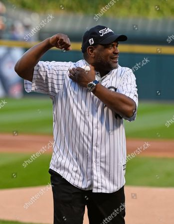Stock Picture of Hall of Famer and former Chicago White Sox player Tim Raines after he threw out a ceremonial first pitch before the baseball game between the White Sox and the San Francisco Giants in Chicago on