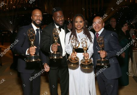 """Common, Robert Glasper, Ava DuVernay, Rickey Minor. Common, from left, Robert Glasper and Ava DuVernay, winners of the awards for outstanding original music and lyrics, outstanding documentary or nonfiction special, and for outstanding writing for nonfiction program for """"13th,"""" pose with Rickey Minor, winner of the award for outstanding music direction for """"Stayin' Alive: A Grammy Salute to the Music of the Bee Gees"""", at the Governors Ball during night one of the Television Academy's 2017 Creative Arts Emmy Awards at the Microsoft Theater, in Los Angeles"""