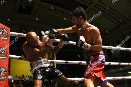 Cello Renda (red shorts) defeats Leon McKenzie (silver/black shorts) to win the Southern Area Super-Middleweight Title during a Boxing Show at York Hall on 9th September 2017