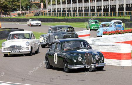 Action during St Mary's Trophy Part 1 Race - Tony Jardine driving 1958 Jaguar Mk 1