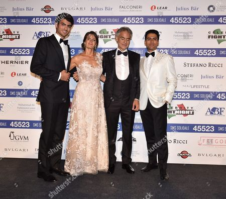 Andrea Bocelli with Veronica Berti and her sons Matteo and Amos