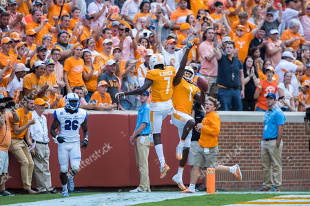 Marquez Callaway #1 of the Tennessee Volunteers celebrates a touchdown catch with Brandon Johnson #7 of the Tennessee Volunteers during the NCAA Football game between the University of Tennessee Volunteers and the Indiana State Sycamores at Neyland Stadium in Knoxville, TN Tim Gangloff/CSM