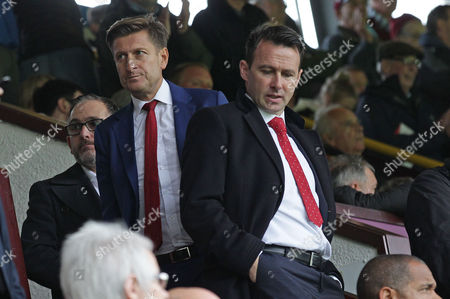 Crystal Palace Chairman, Steve Parish and Crystal Palace sporting director Dougie Freedman watches Burnley v Crystal Palace from the stands at Turf Moor Stadium during the Premier League match between Burnley and Crystal Palace on 10th September 2017 at Turf Moor Stadium, Burnley.