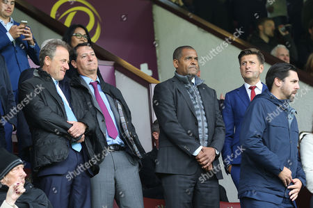 Crystal Palace Chairman & Owners , Steve Parish, Josh Harris, David Blitzer and Ex Crystal Palace player Mark Bright watches Burnley v Crystal Palace from the stands at Turf Moor Stadium during the Premier League match between Burnley and Crystal Palace on 10th September 2017 at Turf Moor Stadium, Burnley.