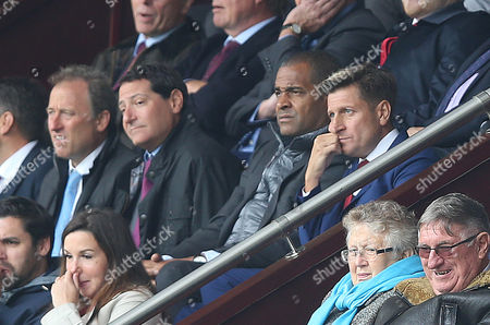 Crystal Palace Chairman, Steve Parish looks glum and frustrated along side Mark Bright and Crystal Palace Co Owners Josh Harris and David Blitzer during the Premier League match between Burnley and Crystal Palace on 10th September 2017 at Turf Moor Stadium, Burnley.