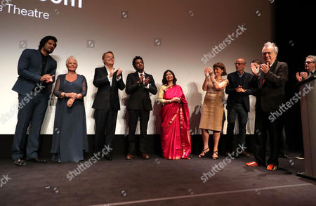 Ali Fazal, Judi Dench, Eddie Izzard, Adeel Akhtar and Shrabani Basu, Beeban Kidron, Producer, Eric Fellner, Producer, Stephen Frears, Director, and Tim Bevan, Producer