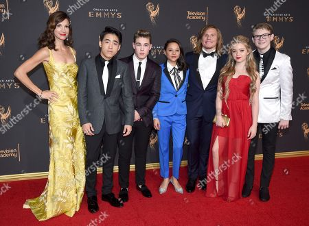 "Jama Williamson, Lance Lim, Ricardo Hurtado, Breanna Yde, Tony Cavalero, Jade Pettyjohn, Aidan Miner. Cast of ""School of Rock"" arrives at night two of the Television Academy's 2017 Creative Arts Emmy Awards at the Microsoft Theater, in Los Angeles"