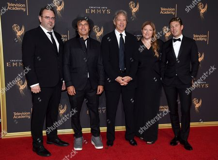 Marc Cote, Nathan Ross, David E. Kelley, Bruna Papandrea, Per Saari. Marc Cote, from left, Nathan Ross, David E. Kelley, Bruna Papandrea, and Per Saari arrive at night two of the Television Academy's 2017 Creative Arts Emmy Awards at the Microsoft Theater, in Los Angeles