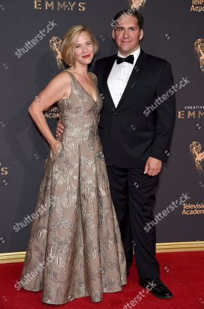 Tiffany Little Canfield, left, and guest arrive at night two of the Television Academy's 2017 Creative Arts Emmy Awards at the Microsoft Theater, in Los Angeles
