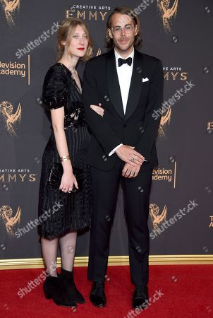 Stock Photo of Augusta Dayton, Zach Cowie. Augusta Dayton, left, and Zach Cowie arrive at night two of the Television Academy's 2017 Creative Arts Emmy Awards at the Microsoft Theater, in Los Angeles