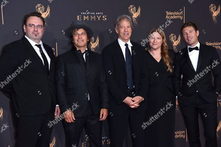 Marc Cote, Nathan Ross, David E. Kelley, Bruna Papandrea, Per Saari. Marc Cote, from left, Nathan Ross, David E. Kelley, Bruna Papandrea, and Per Saari arrive at night two of the Creative Arts Emmy Awards at the Microsoft Theater, in Los Angeles