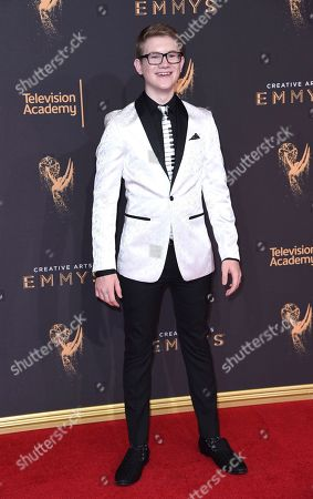 Aidan Miner arrives at night two of the Creative Arts Emmy Awards at the Microsoft Theater, in Los Angeles
