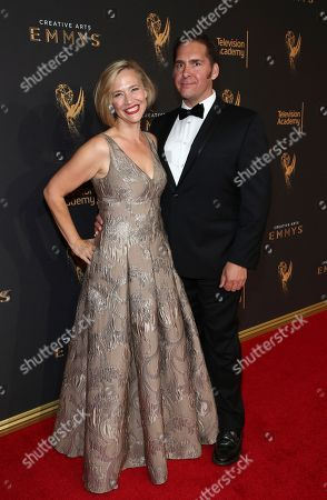Stock Picture of Tiffany Little Canfield, left, arrives at night two of the Television Academy's 2017 Creative Arts Emmy Awards at the Microsoft Theater, in Los Angeles