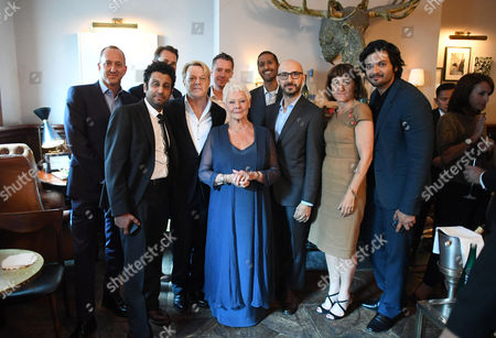 Jimmy Horowitz, President of Universal Pictures, Adeel Akhtar, Jason Cassidy, President of Marketing at Focus Features, Eddie Izzard, Robert Walak, President of Focus Features, Judi Dench, Abhijay Prakash, Chief Operating Officer of Focus Features, Peter Kujawski, Chairman of Focus Features, Beeban Kidron, Producer, and Ali Fazal