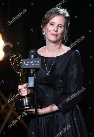 """Susan Jacobs, winner of the award for outstanding music supervision for """"Big Little Lies"""" attends night two of the Television Academy's 2017 Creative Arts Emmy Awards at the Microsoft Theater, in Los Angeles"""