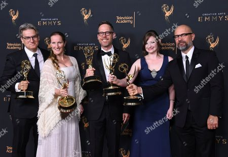 """Stock Picture of Peter Gould, Melissa Bernstein, Dan Appel, Ariel Levine, Rob Knox. Peter Gould, from left, Melissa Bernstein, Dan Appel, Ariel Levine, Rob Knox poses in the press room with the award for the award for outstanding short form comedy or drama series for """"Los Pollos Hermanos Employee Training"""" during night two of the Creative Arts Emmy Awards at the Microsoft Theater, in Los Angeles"""