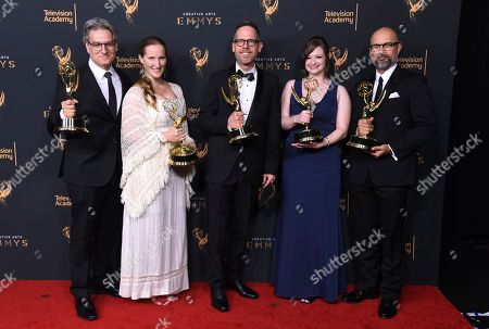 """Peter Gould, Melissa Bernstein, Dan Appel, Ariel Levine, Rob Knox. Peter Gould, from left, Melissa Bernstein, Dan Appel, Ariel Levine, Rob Knox poses in the press room with the award for the award for outstanding short form comedy or drama series for """"Los Pollos Hermanos Employee Training"""" during night two of the Creative Arts Emmy Awards at the Microsoft Theater, in Los Angeles"""