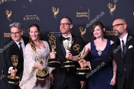 """Stock Image of Peter Gould, Melissa Bernstein, Dan Appel, Ariel Levine, Rob Knox. Peter Gould, from left, Melissa Bernstein, Dan Appel, Ariel Levine, Rob Knox poses in the press room with the award for the award for outstanding short form comedy or drama series for """"Los Pollos Hermanos Employee Training"""" during night two of the Creative Arts Emmy Awards at the Microsoft Theater, in Los Angeles"""