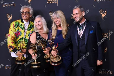 """Bruce Samia, Donna Anderson, Joy Zapata, Pavy Olivarez. Bruce Samia, from left, Donna Anderson, Joy Zapata, and Pavy Olivarez pose in the press room with the award for outstanding hairstyling for a single-camera series for """"Westworld"""" during night two of the Creative Arts Emmy Awards at the Microsoft Theater, in Los Angeles"""