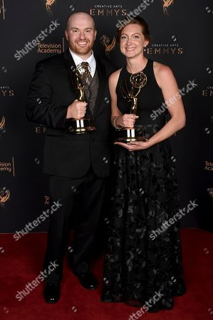 """Chase Paris, Tara Feldstein Bennett. Chase Paris, left, and Tara Feldstein Bennett pose for a portrait with the award for outstanding casting for a drama series for """"Stranger Things"""" during night two of the Television Academy's 2017 Creative Arts Emmy Awards at the Microsoft Theater, in Los Angeles"""