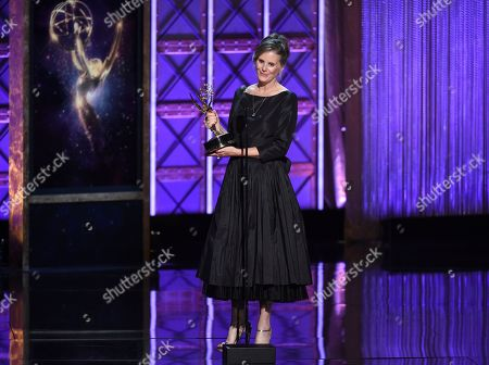 """Susan Jacobs accepts the award for outstanding music supervision for """"Big Little Lies"""" during night two of the Television Academy's 2017 Creative Arts Emmy Awards at the Microsoft Theater, in Los Angeles"""