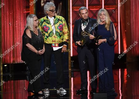 """Donna Anderson, Bruce Samia, Pavy Olivarez, Joy Zapata. Donna Anderson, from left, Bruce Samia, Pavy Olivarez, and Joy Zapata accepts the award for outstanding hairstyling for a single-camera series for """"Westworld"""" during night two of the Television Academy's 2017 Creative Arts Emmy Awards at the Microsoft Theater, in Los Angeles"""