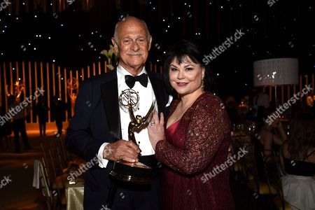 "Gerald McRaney, Delta Burke. Gerald McRaney, winner of the award for outstanding guest actor in a drama series for ""This is Us,"" left, and Delta Burke attend the Governors Ball during night two of the Creative Arts Emmy Awards at the Microsoft Theater, in Los Angeles"
