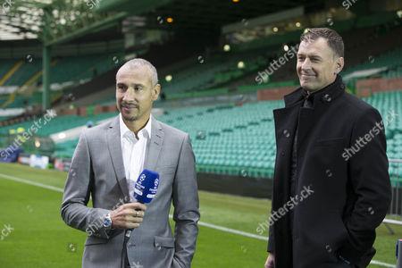 celtic legends Chris Sutton and Henrik Larsson at game