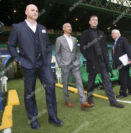 celtic legends John Hartson,  Chris Sutton and Henrik Larsson at game