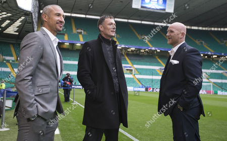 celtic legends Chris Sutton and Henrik Larsson and John Hartson at game