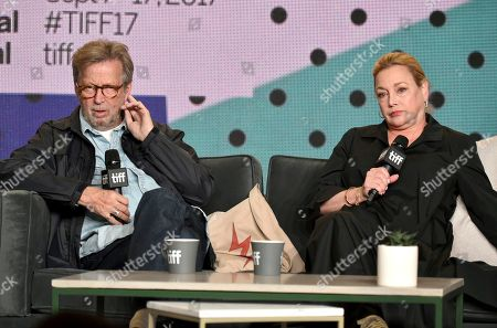 "Lili Fini Zanuck, Eric Clapton. Eric Clapton, left, and director Lili Fini Zanuck attend at a press conference for ""Eric Clapton: Life in 12 Bars"" on day 5 of the Toronto International Film Festival at the TIFF Bell Lightbox, in Toronto"