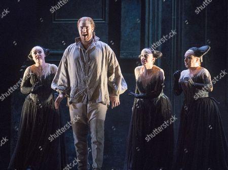 Mauro Peter as Tamino, Rebecca Evans, Angela Simkin, Susan Platts