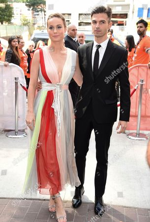 "Brie Larson, Alex Greenwald. Brie Larson, left, and Alex Greenwald attend a premiere for ""Unicorn Store"" on day 5 of the Toronto International Film Festival at the TIFF Bell Lightbox, in Toronto"