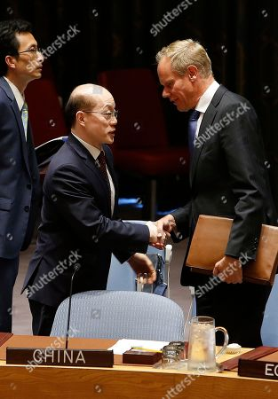 Liu Jieyi, Matthew Rycroft. China's United Nations Ambassador Liu Jieyi, left, speaks to the United Kingdom's U.N. Ambassador Matthew Rycroft before a vote to adopt a new sanctions resolution against North Korea during a meeting of the U.N. Security Council at U.N. headquarters