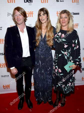 """Patrik Andersson, Lisa Langseth, Frida Bargo. Patrik Andersson, from left, director Lisa Langseth and Frida Bargo attend a premiere for """"Euphoria"""" on day 5 of the Toronto International Film Festival at the Winter Garden Theatre, in Toronto"""