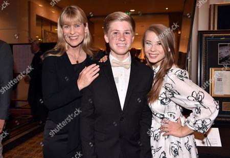 Stock Picture of Terri Irwin with son Bob Irwin and daughter Bindi Irwin