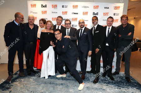 Eric Fellner, Producer, Anthony McCarten, Writer/Producer, Kristin Scott Thomas, Lisa Bruce, Producer, Ben Mendelsohn, Joe Wright, Director, Gary Oldman, Peter Kujawski, Chairman of Focus Features, Abhijay Prakash, Chief Operating Officer of Focus Features, Robert Walak, President of Focus Features, and Tim Bevan, Producer