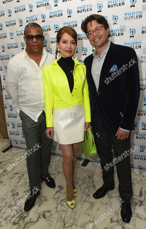 George Wayne, Jean Shafiroff, Andy Goldfarb. Andy Goldfarb, right, Founder of Photo Butler, joins co-hosts George Wayne, Vanity Fair celebrity journalist, and Jean Shafiroff, philanthropist, at the launch party for Photo Butler, a new photo sharing app, during New York Fashion Week