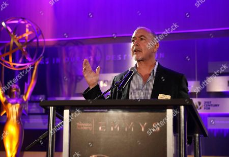 Terence Winter speaks at the 2017 Writers Nominee Reception presented by the Television Academy on at the Saban Media Center in the NoHo Arts District in Los Angeles