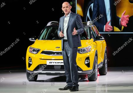 Michael Cole, COO of KIA Europe, presents the new KIA Stonic during the International Motor Show IAA in Frankfurt Main, Germany, 12 September 2017. The International Motor Show IAA is the world's largest motor show and automobile exhibition. Exhibitors from up to 40 countries are to present their latest products and innovations at the IAA, while hundreds of thousands of people are expected to visit the show from 14 to 24 September.