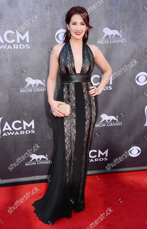 Katie Armiger arrives at the 49th annual Academy of Country Music Awards at the MGM Grand Garden Arena, in Las Vegas