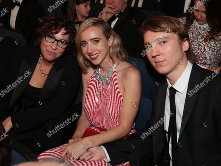 Lisa Cholodenko, from left, Zoe Kazan and Paul Dano attend the 67th Primetime Emmy Awards, at the Microsoft Theater in Los Angeles