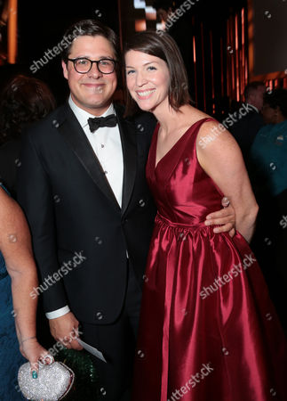 Rich Sommer, left, and Virginia Donohoe attend the 67th Primetime Emmy Awards, at the Microsoft Theater in Los Angeles