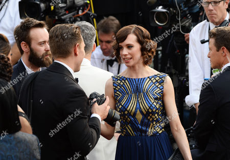 Benjamin Cleary, left, and Chloe Pirrie arrive at the Oscars, at the Dolby Theatre in Los Angeles