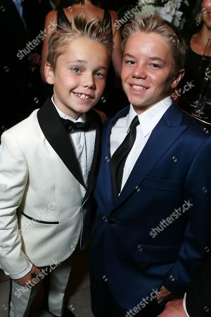 Mason Vale Cotton, left, and Maxwell Perry Cotton attend the AMC, IFC, Sundance Channel Emmy After Party, on in West Hollywood, Calif