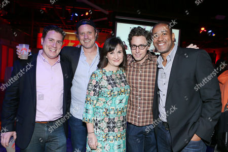 BuzzFeeds Ben Smith, Ze Frank, Doree Shafrir, Jonah Peretti and Terry City at BuzzFeed LA's Office Grand Opening, on in Los Angeles