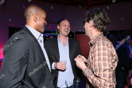 BuzzFeeds Terry City, Ze Frank and Jonah Peretti at BuzzFeed LA's Office Grand Opening, on in Los Angeles