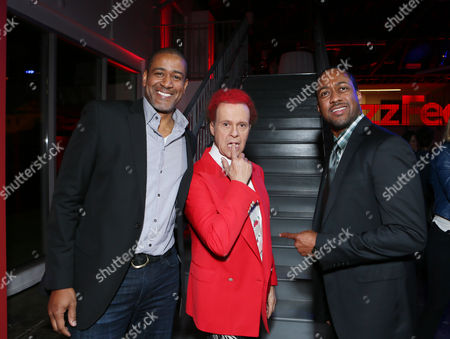BuzzFeed's Terry City, Richard Simmons and Jaleel White at BuzzFeed LA's Office Grand Opening, on in Los Angeles